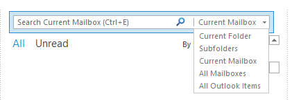Change default search scope for the Inbox in Outlook 2013