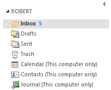 Folders with (This computer only) behind them in Outlook 2013