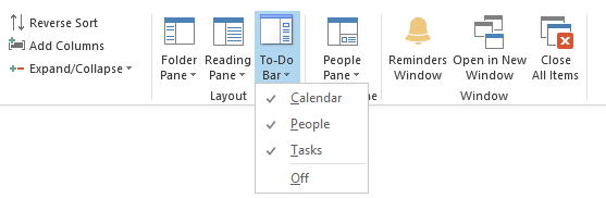 To-Do Bar options in Outlook 2013
