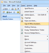 Out of Office Assistant (OOF) in Outlook 2007 and previous.