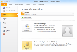 Out of Office Assistant (OOF) or Automatic Replies in Outlook 2010
