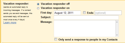 Settings vacation responder in Gmail. (click on image to enlarge)