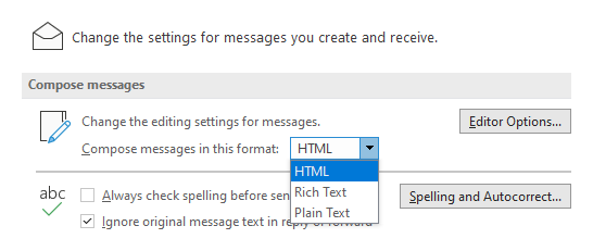 Changing the default message format in Outlook.