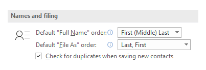 Default Names and Filing options for Contacts.