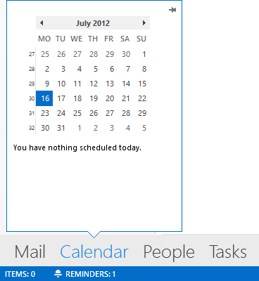 Calendar Peek feature in Outlook 2013