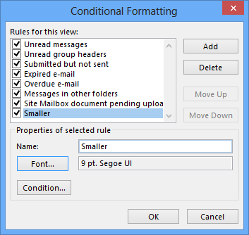 Changing the size of the sender's name in Conditional Formatting