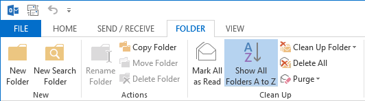 Sort folders alphabetically in Outlook 2013