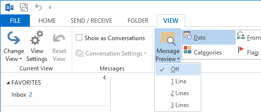 Message Preview in Outlook 2013