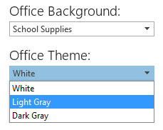 Office 2013 Background and Theme option in the Office Account section.