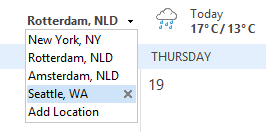 Add or remove weather locations in Outlook 2013