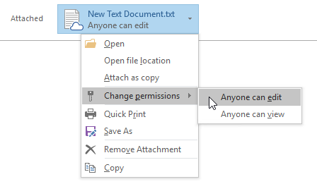Attachment Options for Cloud files in Outlook 2016 - Change Permissions - Attach as copy