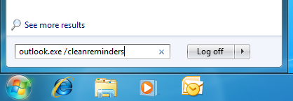 Starting Outlook with the cleanreminders switch in Windows 7.