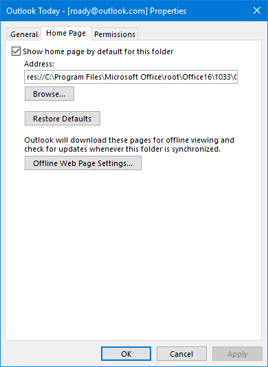 Disable home page option to show Outlook Today as a normal folder.