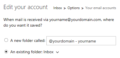 Hotmail - Add an email account - select delivery folder and set an icon.