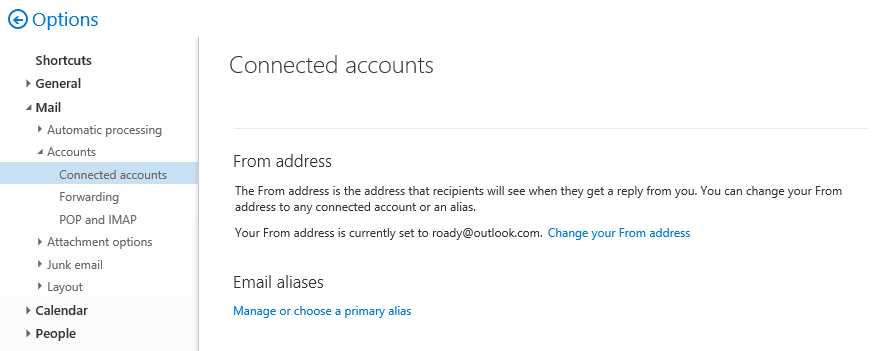Setting your default From and Primary alias for your Outlook.com account. (click on image to enlarge)