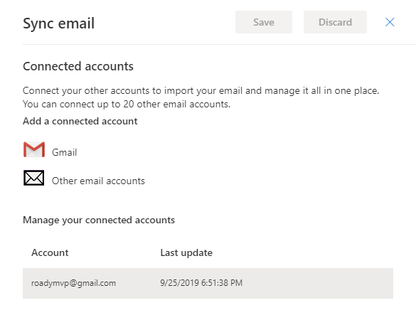 Connected accounts on Outlook.com