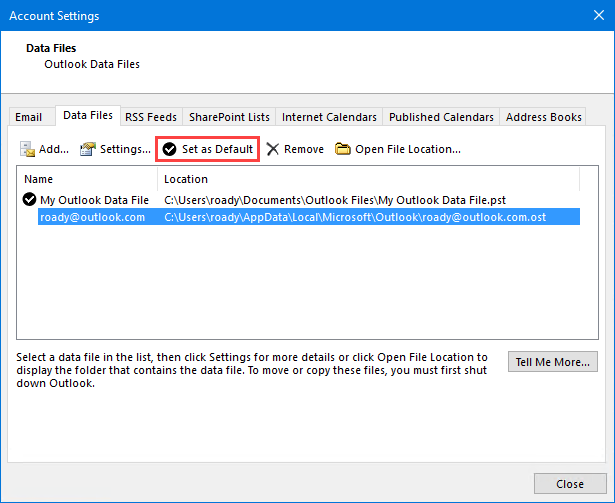 Set your Outlook.com mailbox as the default data file and optionally remove your pst-file.