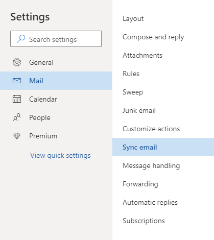 Outlook.com - Options - Connected accounts