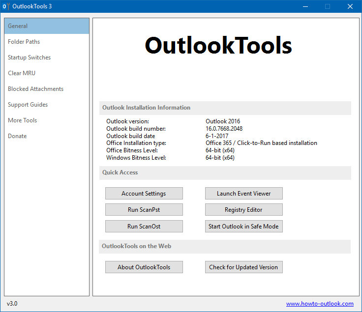 The General tab displays your Outlook installation information and allows you quick access to various tools.