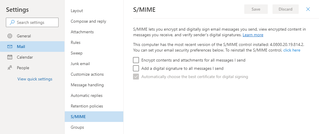 S/MIME settings page in Outlook on the Web for Office 365.