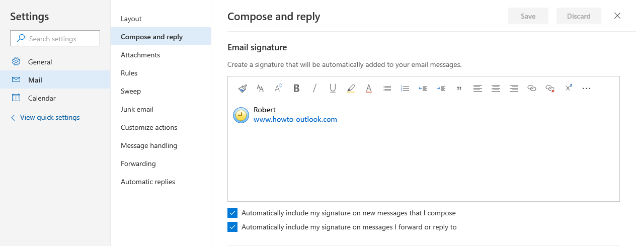 How to set up signature in outlook