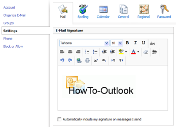 Adding a picture to an OWA signature (click on image to enlarge)