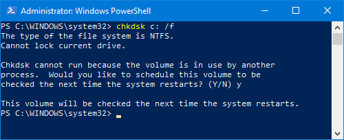 Running the chkdsk command in PowerShell.