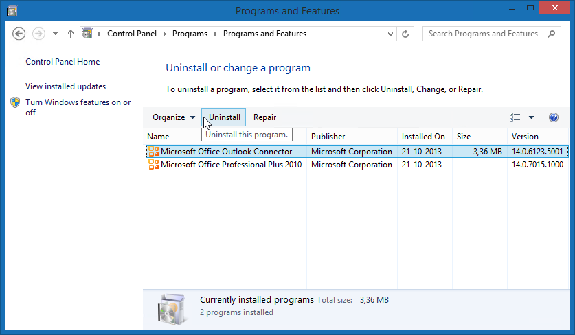 "Uninstall the Microsoft Office Outlook Connector from your computer once you have your Outlook.com account added as an Exchange account and removed as a ""MAPI"" account. (click on image to enlarge)"