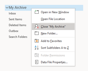 The root folder is the top folder of a mailbox. Right clicking on it allows you to close it and remove it from Outlook.