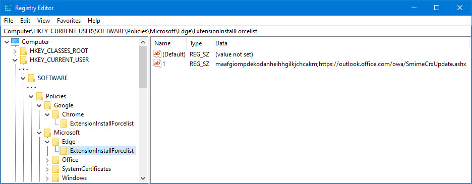 Setting the ExtensionInstallForcelist value in the Registry Editor to install the S/MIME extension.