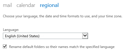 Changing the language of the default folders in OWA 2013.