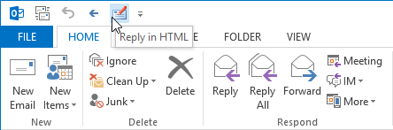 "You can place a ""Reply in HTML"" button to your Quick Access Toolbar for easy access to the macro."