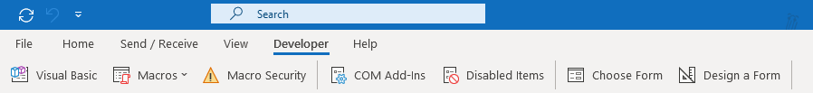 Developer tab in the Ribbon of Outlook.