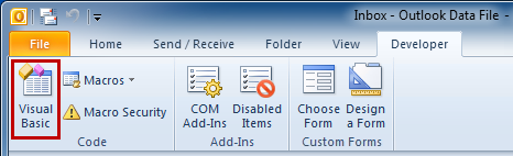 Developer tab in Outlook 2010