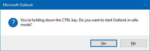 You're holding down the CTRL key. Do you wnt to start Outlook in safe mode?