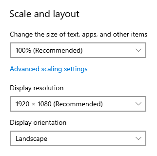 Windows 10 - Scale and layout