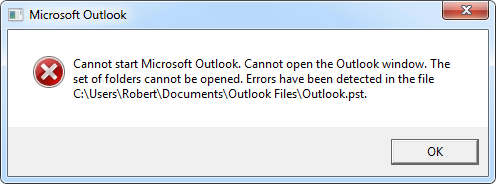 Cannot start Microsoft Outlook. Cannot open the Outlook window. The set of folders cannot be opened. Errors have been detected in the file <path to pst-file>.