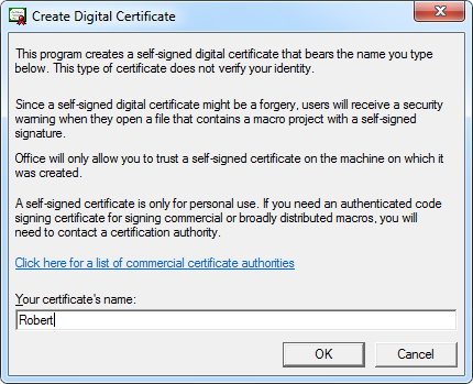 Create Digital Certificate with SelfCert.exe