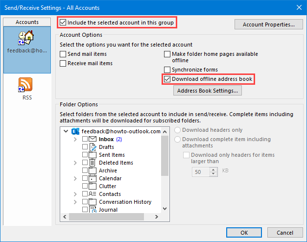 updating the offline address book in exchange and outlook howto