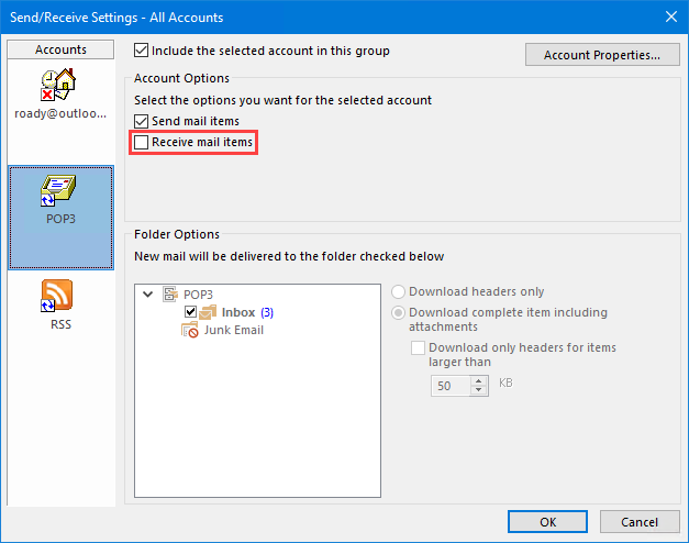 Configure a POP3 account as a Send Only account.