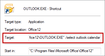 Creating a custom shortcut with the command line to start Outlook in the Calendar folder. (click on the image to enlarge)