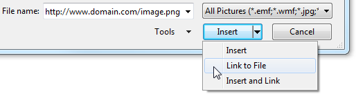 Inserting a link to a picture on the Internet in Outlook 2007 and Outlook 2010