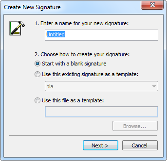 New Signature wizard Outlook 2003