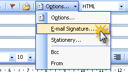 Insert signature with Outlook 2003 and Word set as the email editor
