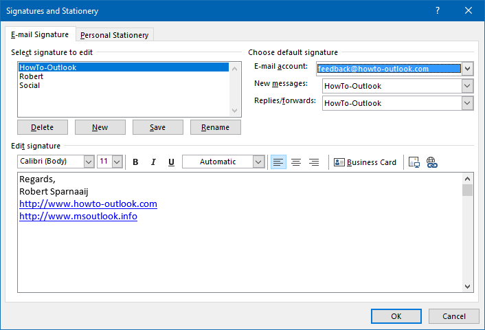 Outlook's main window to create and manage Signatures.