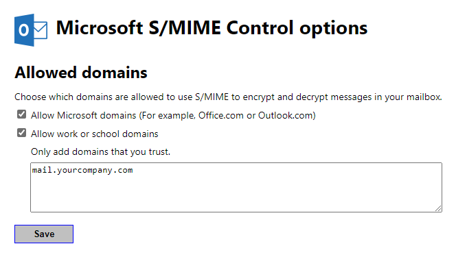 Microsoft S/MIME Control options