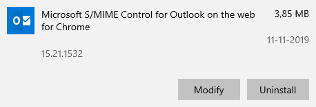 Installed Apps list - Microsoft S/MIME Control for Outlook on the web for Chrome