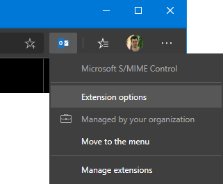 Microsoft S/MIME Control - Extension options