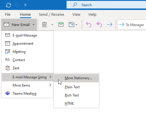 Working with message templates howto outlook select stationery maxwellsz