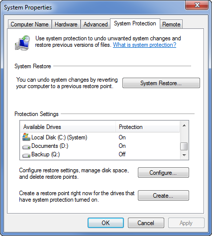 Select a drive and then press Configure to enable Previous Versions.
